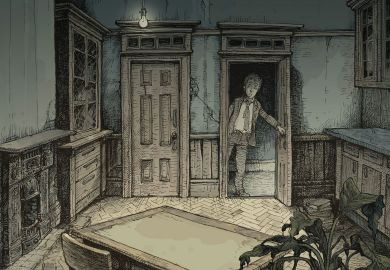 Illustration of a man opening door to an empty room.