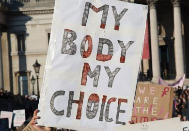 Women's March on London. Banner reading 'My body my choice'.