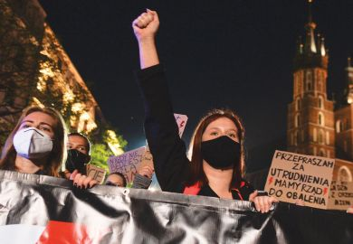 University students, women's rights activists and their supporters at  anti-government protest in Krakow  expressing anger with at the Supreme Court ruling which tightened the already strict abortion laws.