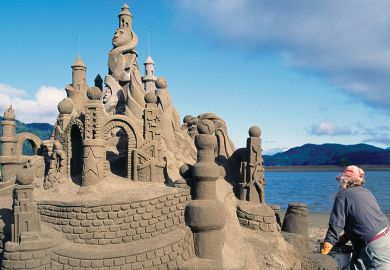 Sand Castle Sculpture on Beach