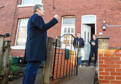 Labour leader Sir Keir Starmer meets residents standing alone outside their front door as a metaphor for 'Like Labour, scholars are disconnected from society'.