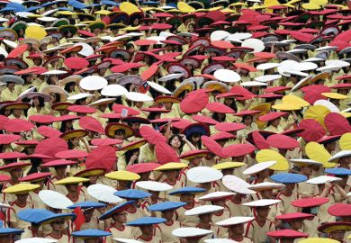 Hats of different colours in crowd Taiwan