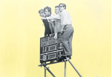 Four students on scoreboard