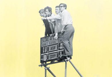 Four students on scoreboard