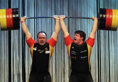 Weightlifters holding a bar over their heads symbolising new powers granted to PhD students to combat bullying and overwork