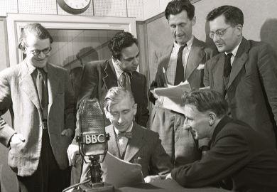 William Empson, George Woodcock, Mulk Raj Anand, George Orwell, Herbert Read, Edmund Blunden at the BBC