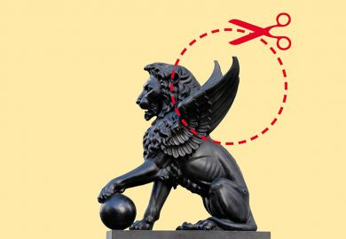 Winged lion with cut-out guide and scissors symbolising cut to UK science research budget