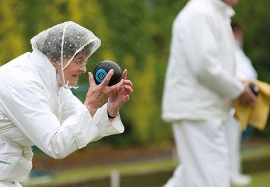 woman bowls rain