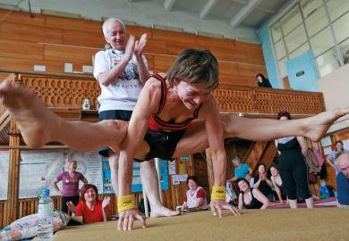 Woman performing hatha yoga, Stavropol, Russia