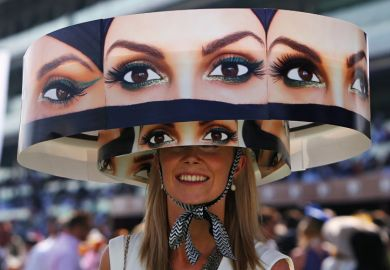 Woman wearing hat, Meydan Racecourse, Dubai World Cup