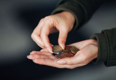 Woman counting euros in hand