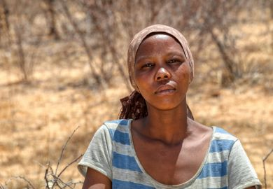 A woman in a Kalahari village, Botswana