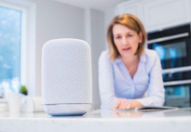 Woman talking to AI speaker