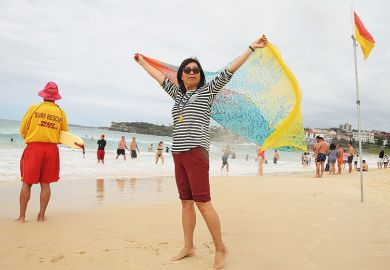 A woman on an Australian beach