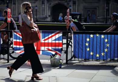 Woman walking past UK and EU flags