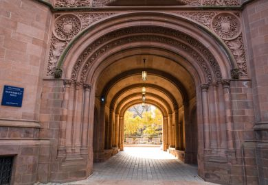 Yale University at the arched gate at Vanderbilt Hall