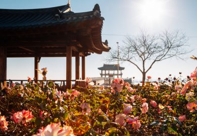 Yeongildae traditional pavilion and rose garden in Pohang, South Korea