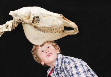 Young boy posing beneath animal skull