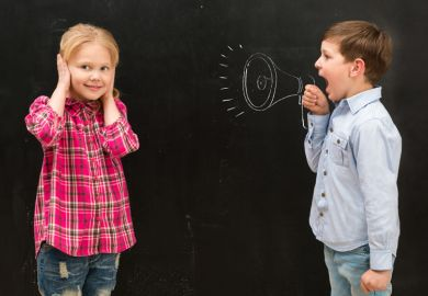 Young boy shouting at girl covering ears