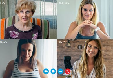Four women on a video call screen