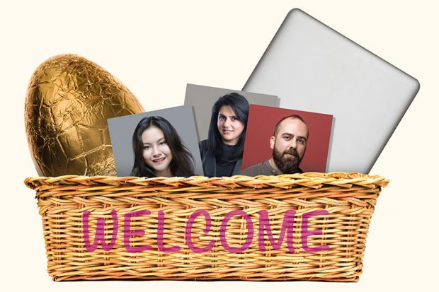 Montage of welcome basket containing Easter egg, photos and laptop