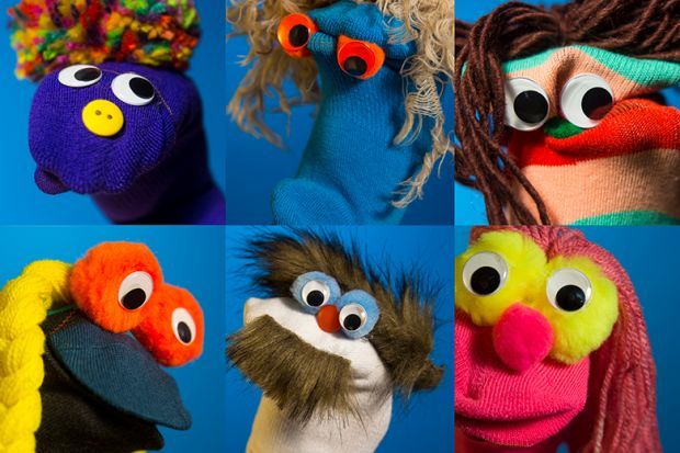 Various sock puppets