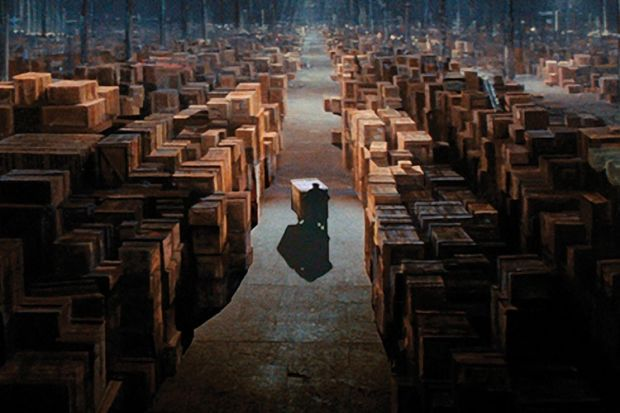 Image result for raiders of the lost ark last scene warehouse