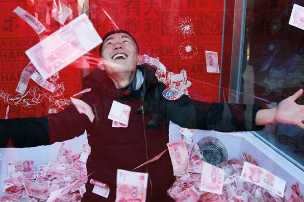A man surrounded by banknotes