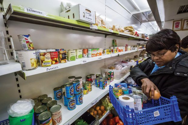A person working in a food bank