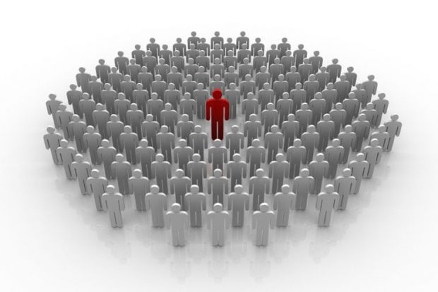 Illustration of a powerful person in the middle of a crowd