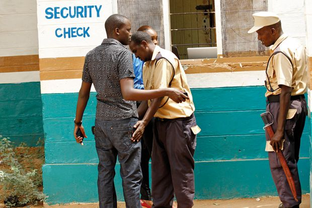 Security officer searches student, Garissa University College
