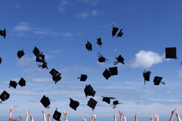 Graduates celebrate the award of their university or college degrees