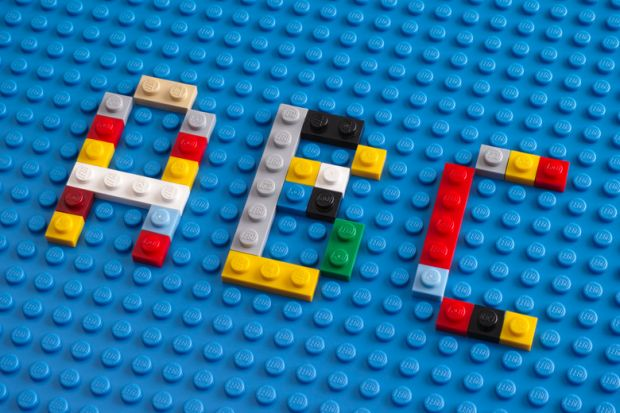 ABC spelled in Lego bricks