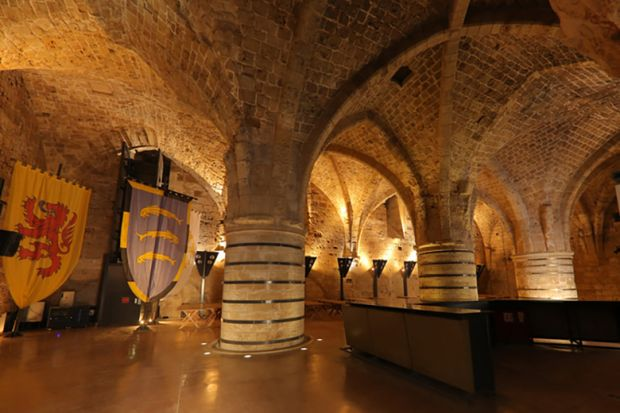 The Hall of Pillars in the Knights Hospitalier fortress, Acre, Israel