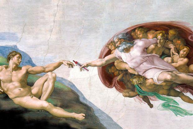 God giving Adam a marker pen