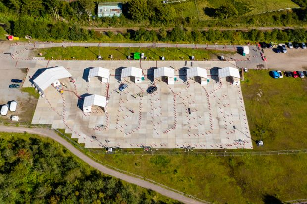 Aerial view of a Welsh COVID testing centre