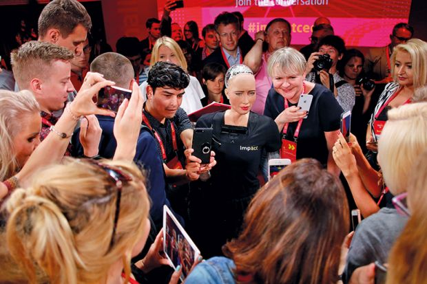 A female robot in the crowd