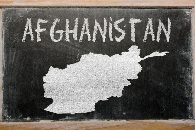 A map of Afghanistan on a blackboard