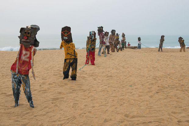 Art installation on beach