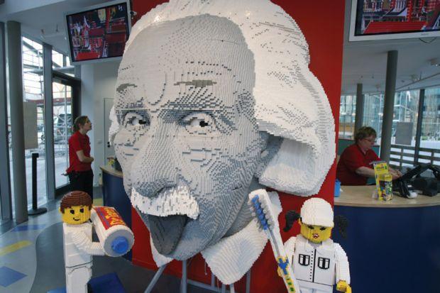 Albert Einstein head made from Lego bricks