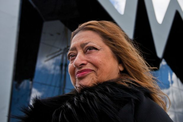Architect Zaha Hadid outside The Riverside Museum, Glasgow