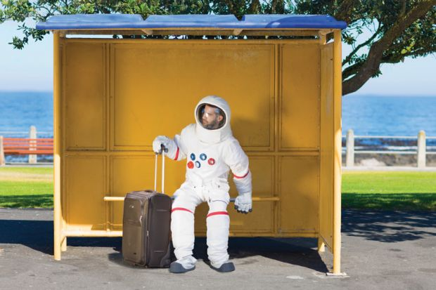 Astronaut waiting with suitcase at bus stop