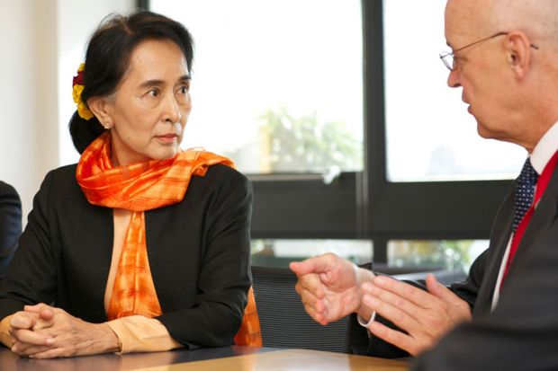 Aung San Suu Kyi speaking to Andrew Hamilton, University of Oxford