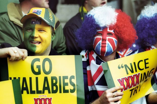 Australian rugby union fans, Twickenham Stadium, London, England