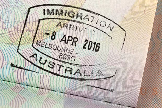 Australia immigration stamp
