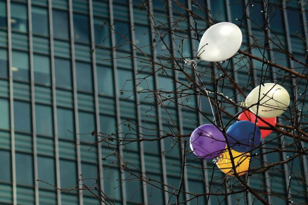 Balloons caught in tree