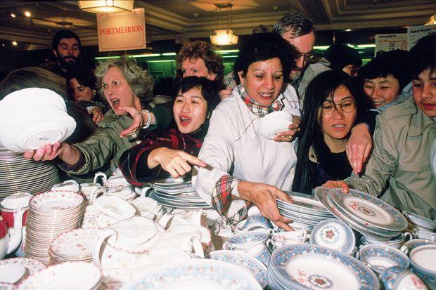 Shoppers jostle for a bargain
