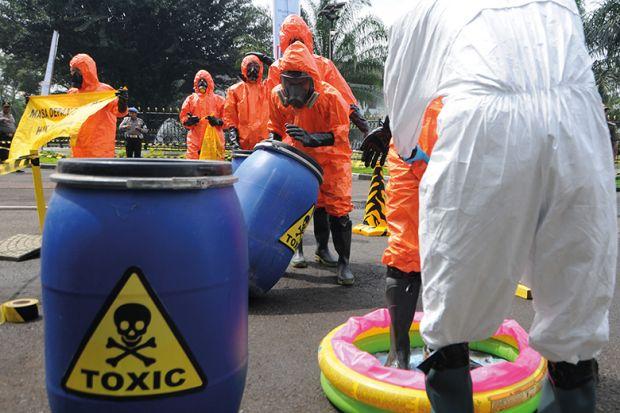 Barrels of toxic liquid