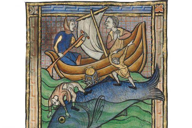Medieval painting of a whale