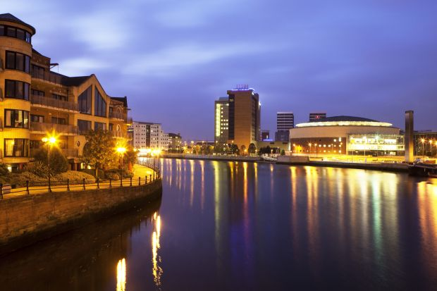 Belfast at night along river